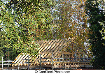 Wooden roof being built - Wooden roof under construction