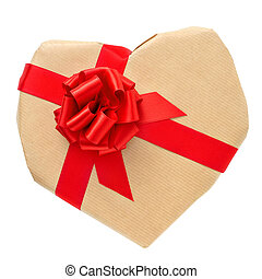 heart-shaped gift - a heart-shaped gift with a red ribbon on...