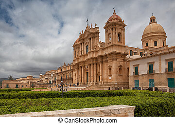 Cathedral in old town Noto, Sicily, Italy - Castel Duomo -...