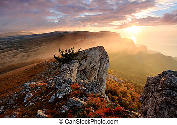 sunrise in the mountains Ai-Petri. Alupka, Crimea, Ukraine.