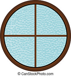 Round Window - A round window with hammered bathroom glass