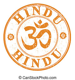 Hindu stamp - Orange grunge rubber stamp with om aum symbol...