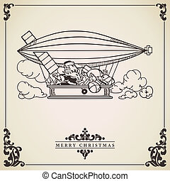 Santa Claus in dirigible Vector card - Santa Claus piloting...