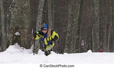 Winter sport - Child participating in sports at a skiing...