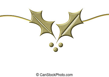 Christmas card golden holly - Christmas card with gold holly...