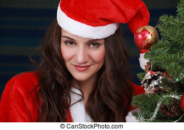 Christmas woman - Beautiful Christmas woman portrait with...