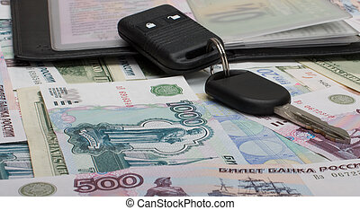 Documents on the car and money. - Keys and documents from...