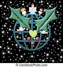 Christmas card, earth with peace symbols Christmas Angel and...