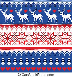 Nordic seamless pattern with deer - Winter red and...