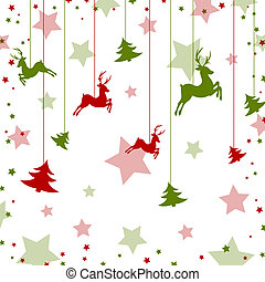 Christmas card - Vector illustration of roe deers and...