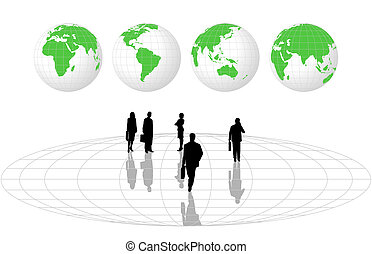 Silhouettes and World Globes - Illustration with silhouettes...