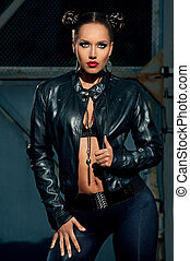 portrait- model in the extreme style - model poses in a...