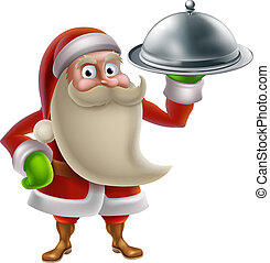 caricatura, santa, Cozinhar, Natal, jantar