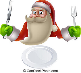 Santa Eating Christmas Dinner Food - Santa eating Christmas...
