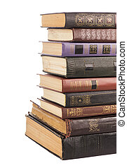 Old hardcover books - collection old books isolated on white