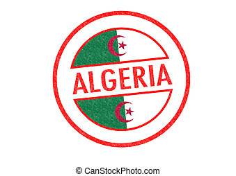 ALGERIA - Passport-style ALGERIA rubber stamp over a white...