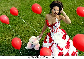 baloons, ragazza, moda, erba,  bacground