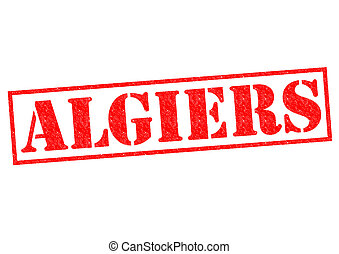 ALGIERS (capital of Algeria) Rubber Stamp over a white...