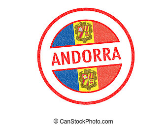 ANDORRA - Passport-style ANDORRA rubber stamp over a white...