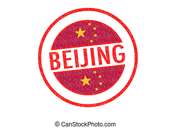 BEIJING - Passport-style BEIJING (China) rubber stamp over a...
