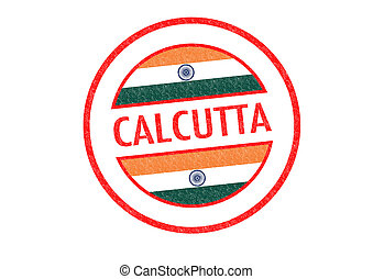 CALCUTTA - Passport-style CALCUTTA India rubber stamp over a...