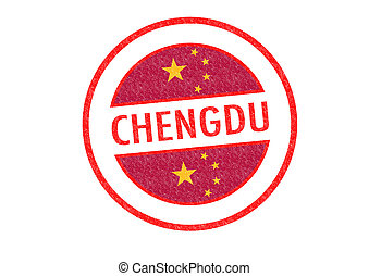 CHENGDU - Passport-style CHENGDU China rubber stamp over a...