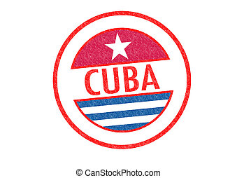 CUBA Rubber Stamp - Passport-style CUBA rubber stamp over a...
