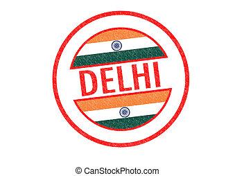 DELHI - Passport-style DELHI (India) rubber stamp over a...