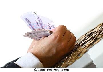 soldi, presa, mani