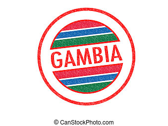 GAMBIA - Passport-style GAMBIA rubber stamp over a white...