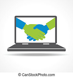 Handshake in laptop background