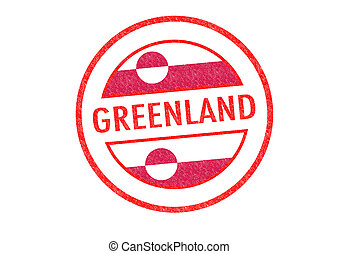 GREENLAND - Passport-style GREENLAND rubber stamp over a...