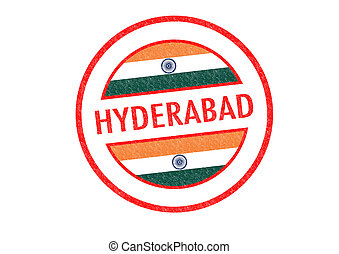 HYDERABAD - Passport-style HYDERABAD India rubber stamp over...