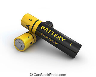batteries - Two rechargeable AA batteries isolated on a...