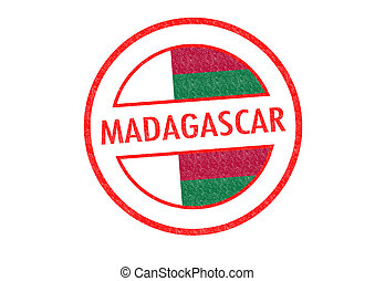 MADAGASCAR - Passport-style MADAGASCAR rubber stamp over a...