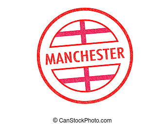 MANCHESTER - Passport-style MANCHESTER rubber stamp over a...