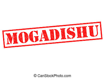 MOGADISHU (capital of Somalia) Rubber Stamp over a white...