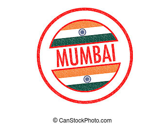MUMBAI - Passport-style MUMBAI (India) rubber stamp over a...