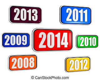 new year 2014 and previous years in colored banners - new...