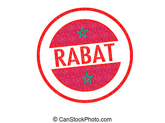 RABAT - Passport-style RABAT (Morocco) rubber stamp over a...