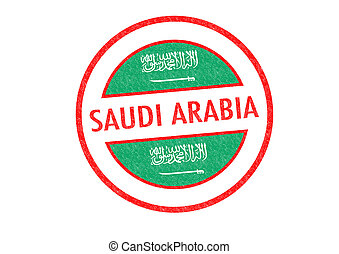 SAUDI ARABIA - Passport-style SAUDI ARABIA rubber stamp over...