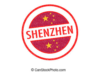 SHENZHEN - Passport-style SHENZHEN (China) rubber stamp over...