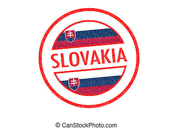 SLOVAKIA - Passport-style SLOVAKIA rubber stamp over a white...