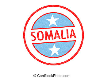 SOMALIA - Passport-style SOMALIA rubber stamp over a white...