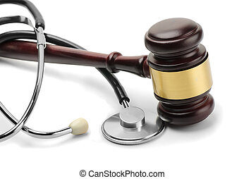 Stethoscope and gavel - Close up of stethoscope and gavel on...