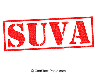 SUVA Stamp - SUVA capital of Fiji Rubber Stamp over a white...