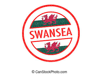 SWANSEA - Passport-style SWANSEA Wales rubber stamp over a...