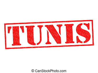 TUNIS capital of Tunisia Rubber Stamp over a white...