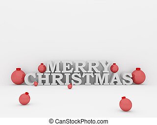 3d merry christmas text with balls