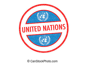 UNITED NATIONS Stamp - Passport-style UNITED NATIONS rubber...